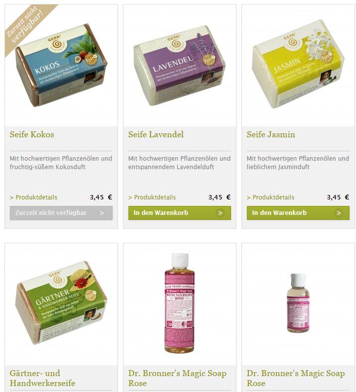 Fair hergestellte Seife aus pflanzlichen Rohstoffen im Onlineshop von GEPA