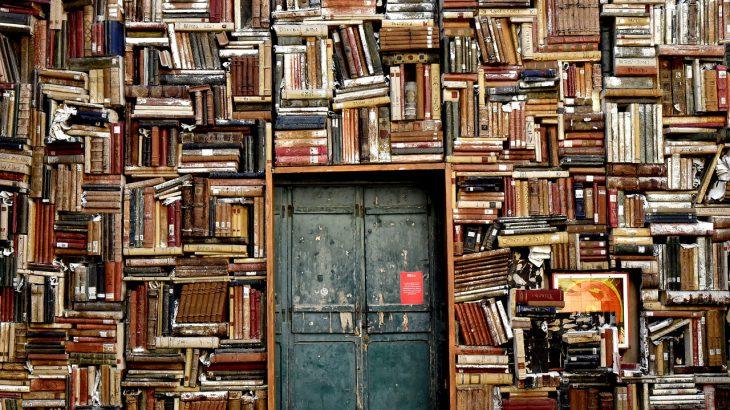 Ein sehr altes Bücherregal um eine Tür herum gebaut