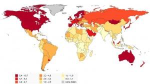 Ökologischer Fußabdruck, Weltkarte