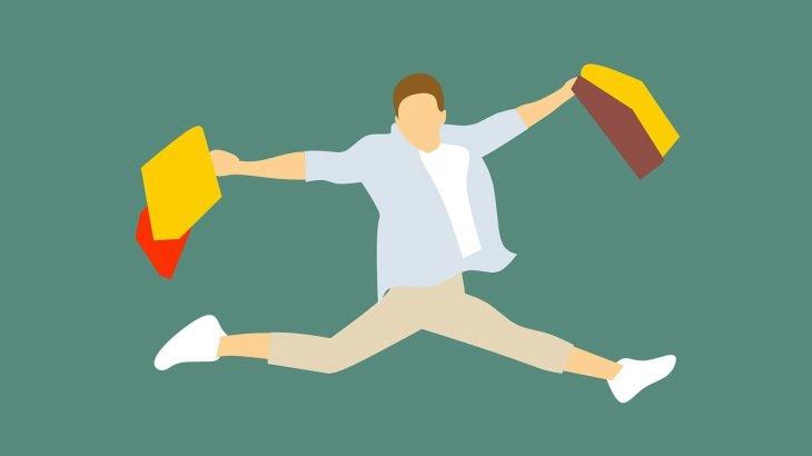 Ein gezeichneter Mann, der freudig hüpft und zwei Shoppingbeutel in der Hand hält