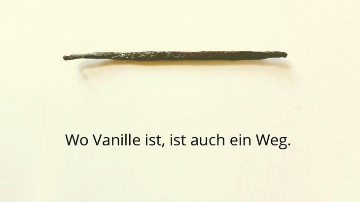 Es ist eine Vanilleschote zu sehen und darunter steht Wo Vanille ist, ist auch ein Weg.