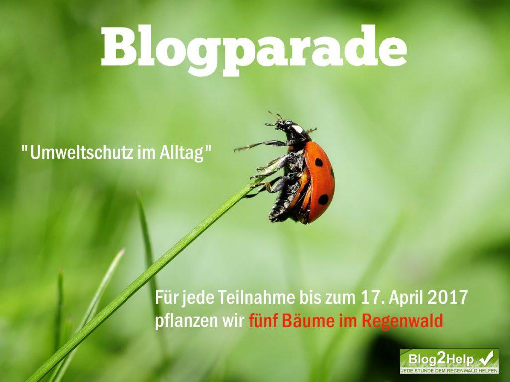 Blogparade Ankündigungsgrafik mit dem Text Blogparade - Umweltschut im Alltag - Für jeden Teilnehmer bis zum 17. April 2014 pflanzen wir fünf Bäume im Regenwald. Im Hintergrund ist ein Marienkäfer zu sehen, der auf einem Grashalm sitzt.