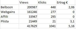 Ausschnitt einer Excel-Tabelle, die die Views, Klicks und Einnahmen der einzelnen Werbeanbieter aufschlüsselt