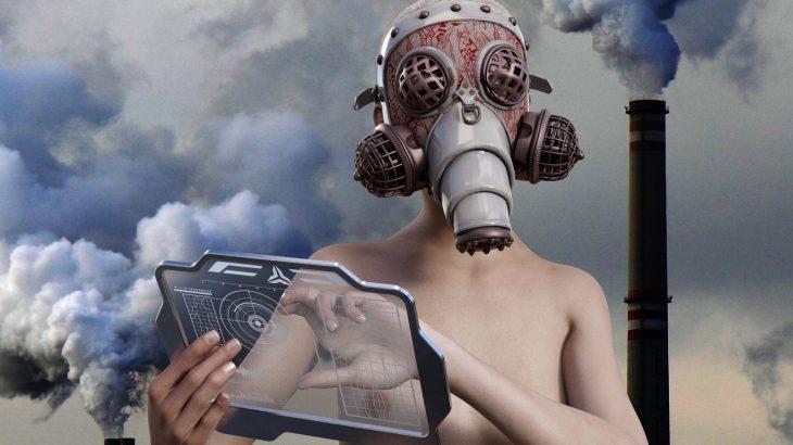 Im Hintergrund sind rauchende Schlote, die die Luftverschmutzung symbolisieren. Im Vordergrund eine Frau mit Gasmaske auf und Tablet in der Hand.