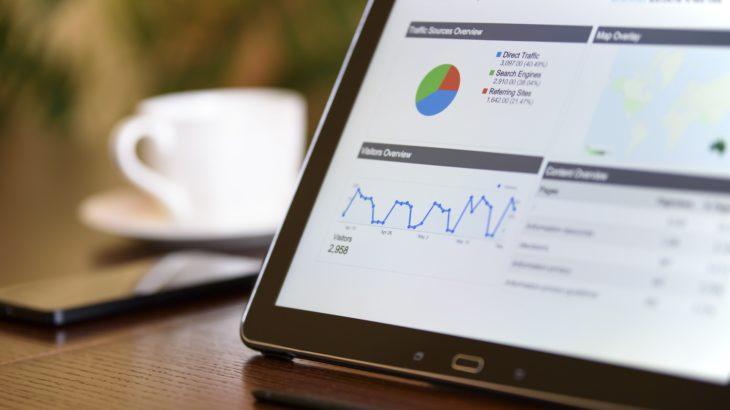 Statistiken auf einem Laptop Monitor