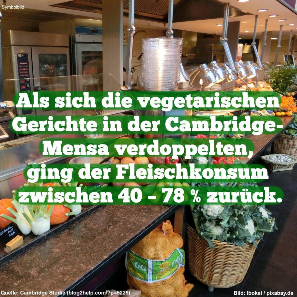 Als sich die vegetarischen Gerichte in der Cambridge-Mensa verdoppelten, ging der Fleischkonsum zurück.