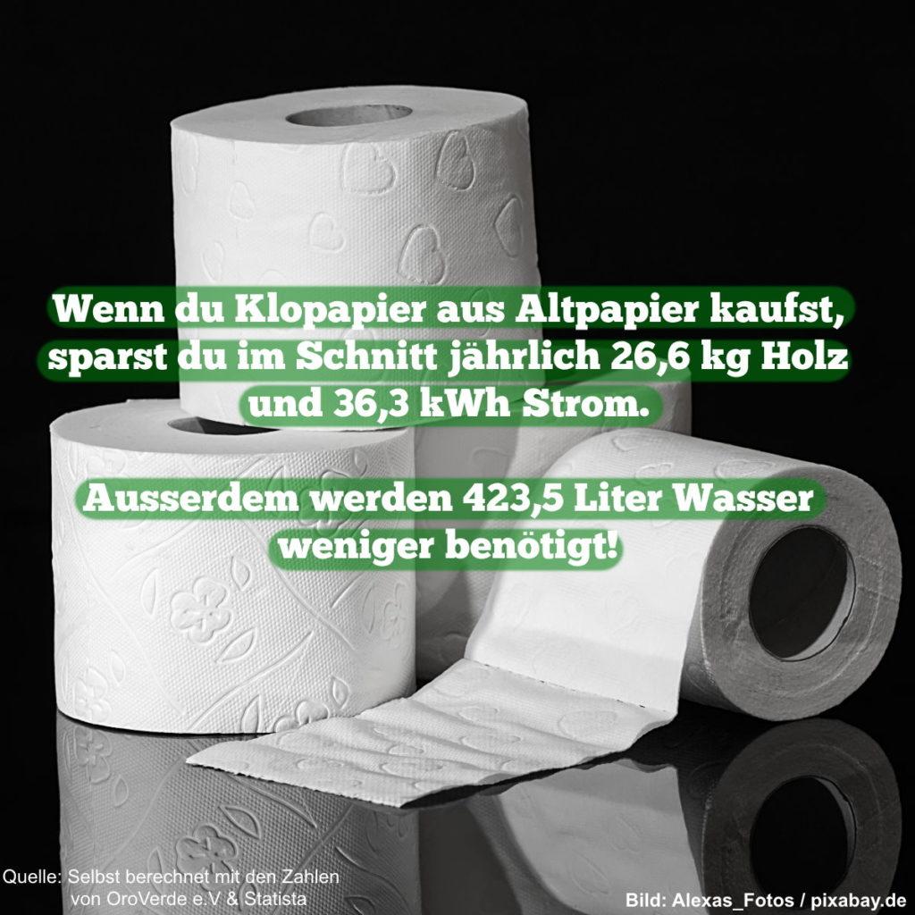 Wenn du Klopapier aus Altpapier kaufst, sparst du im Schnitt jährlich 26,6 kg Holz und 36,3 kWh Strom. Außerdem werden 423,5 Liter Wasser weniger benötigt!