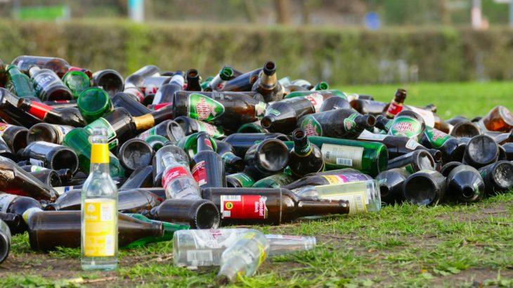 Verschiedene Glasflaschen liegen auf der Wiese