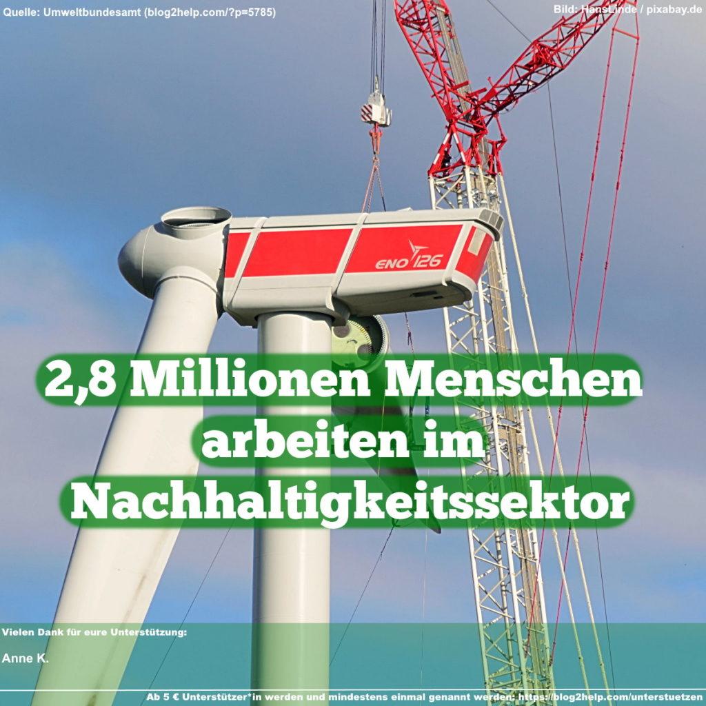 2,8 Millionen Menschen arbeiten im Nachhaltigkeitssektor