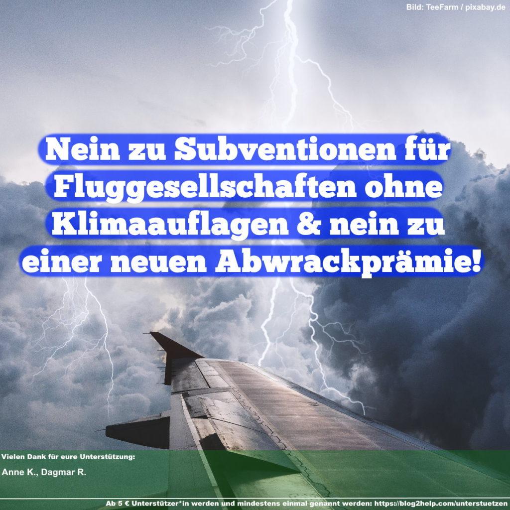 Nein zu Subventionen für Fluggesellschaften ohne Klimaauflagen & nein zu einer neuen Abwrackprämie