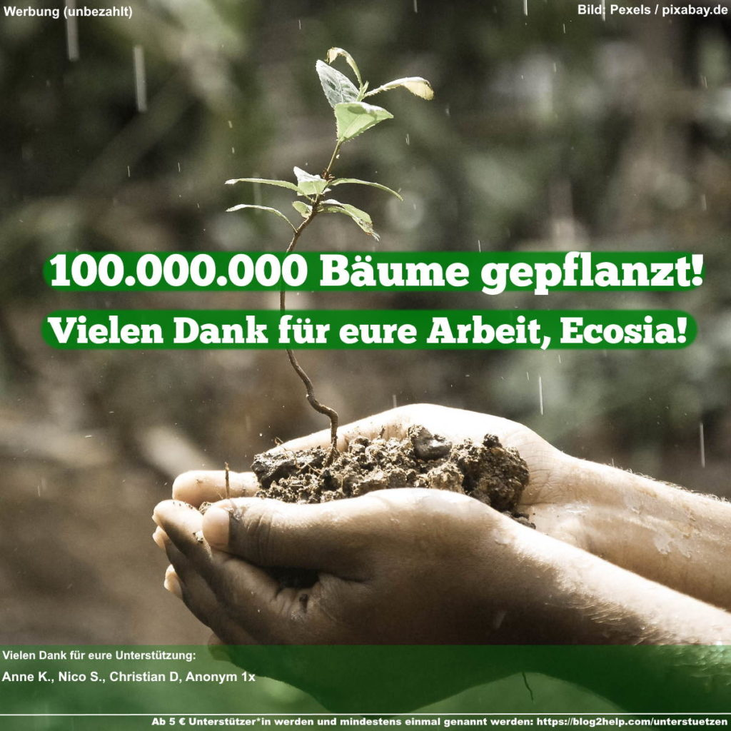 Meme: 100.000.000 Bäume gepflanzt! Vielen Dank für eure Arbeit, Ecosia!