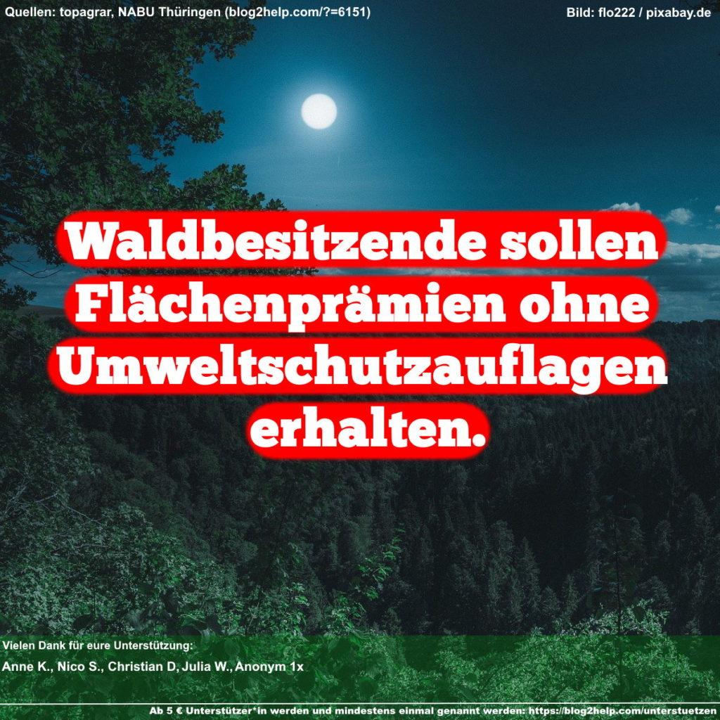 Meme: Waldbesitzende sollen Flächenprämien ohne Umweltschutzauflagen erhalten.