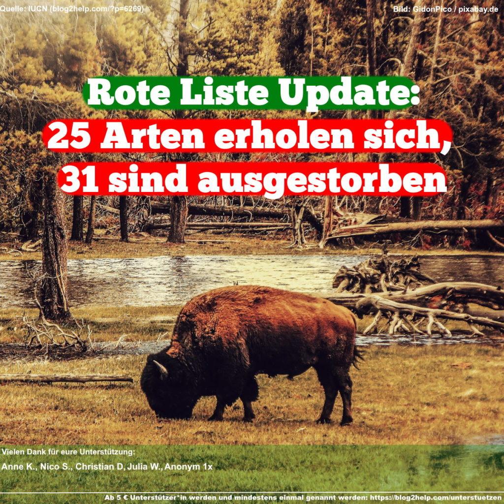Meme: Rote Liste Update: 25 Arten erholen sich, 31 sind ausgestorben