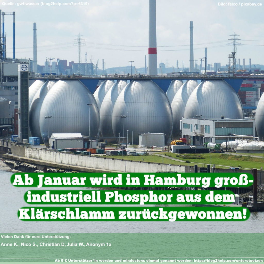 Meme: Ab Januar wird in Hamburg großindustriell Phosphor aus dem Klärschlamm zurückgewonnen