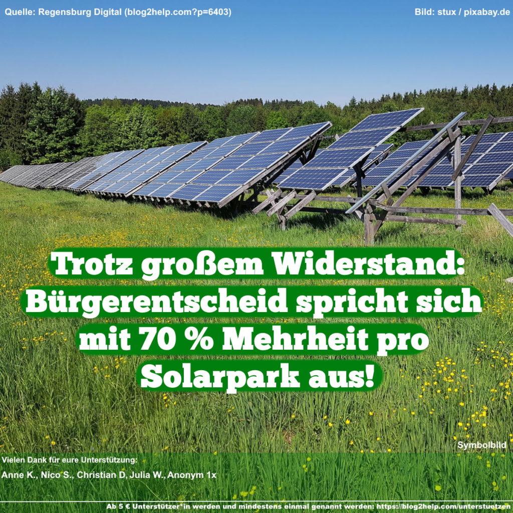 Meme: Trotz großem Widerstand: Bürgerentscheid spricht sich mit 70 % Mehrheit pro Solarpark aus!