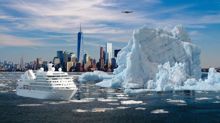 Klimakrise vor New York mit Eisberg