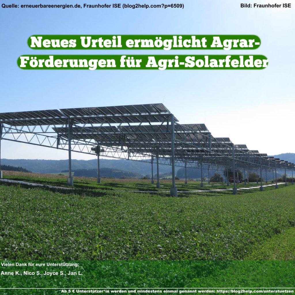 Neues Urteil ermöglicht Agrarförderungen für Agri-Solarfelder