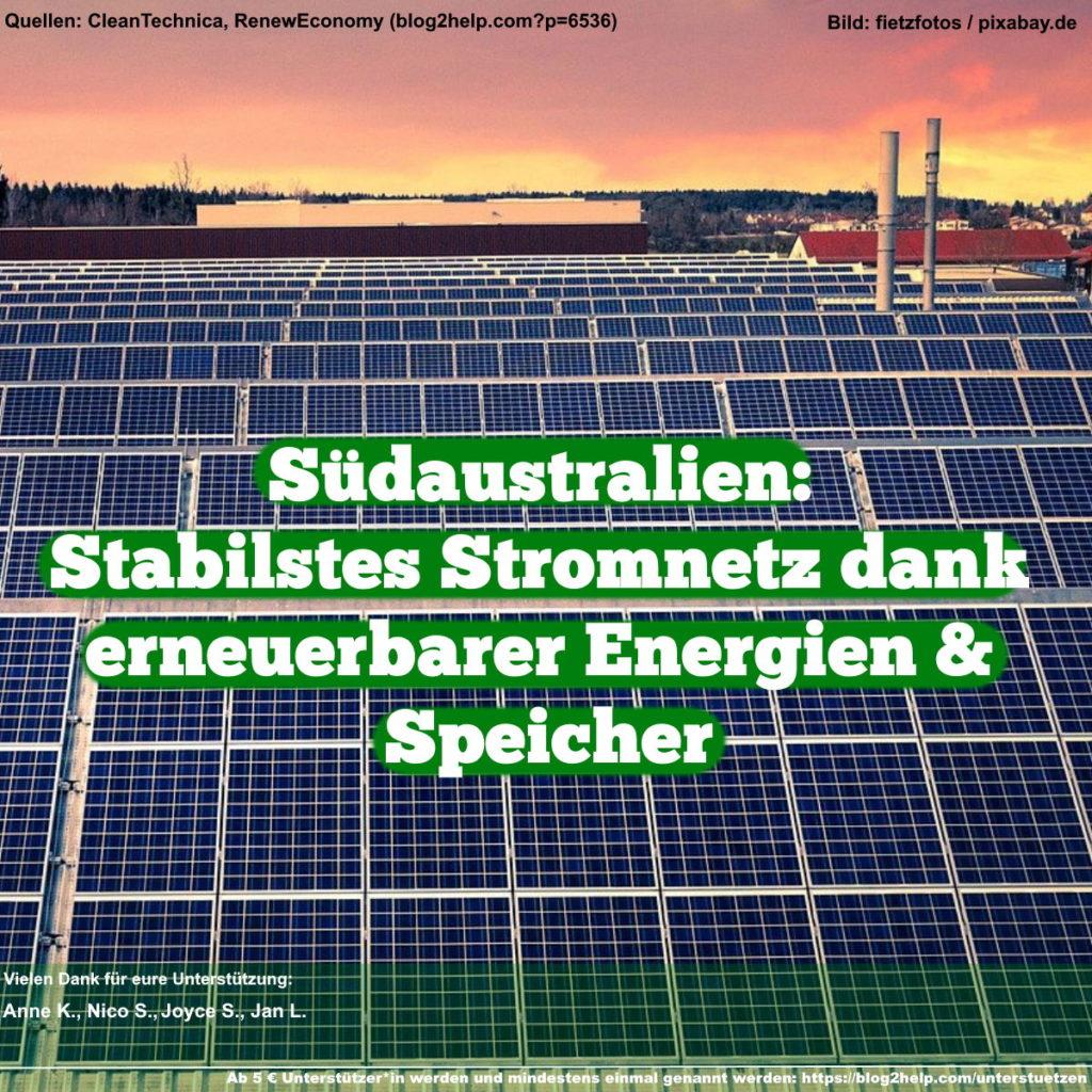 Südaustralien: Stabilstes Stromnetz dank erneuerbarer Energien & Speicher